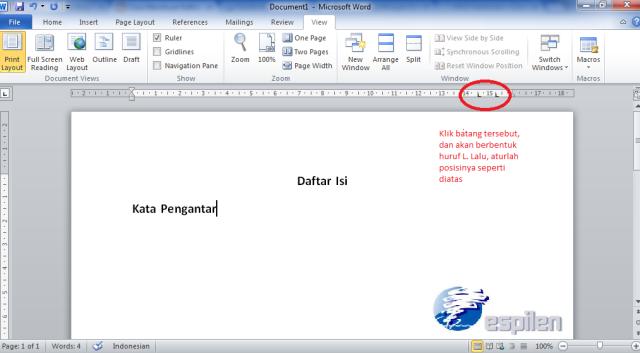 Cara Membuat Daftar Isi Word